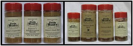 Uncle Bunk's Spice Blends and Chili in a Bottle